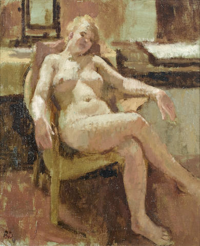 Bernard Dunstan, R.A. (British, born 1920) Model Resting 30.5 x 17.2 cm. (12 x 6 3/4 in.)