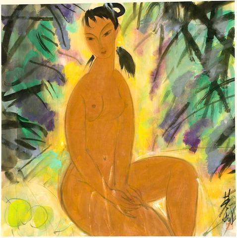 Lin Fengmian (1900-1991) Nude in Garden