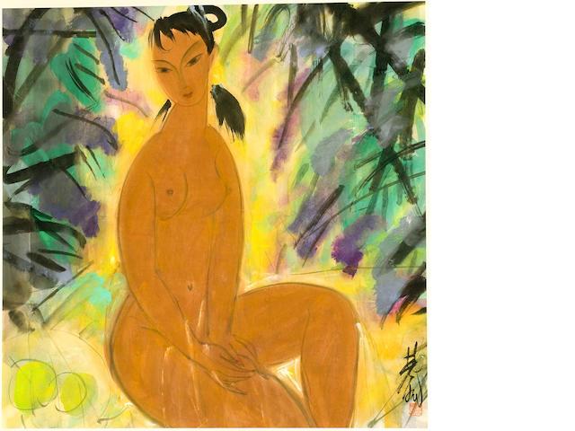 Lin Fengmian (1900-1991)<br>Nude in Garden