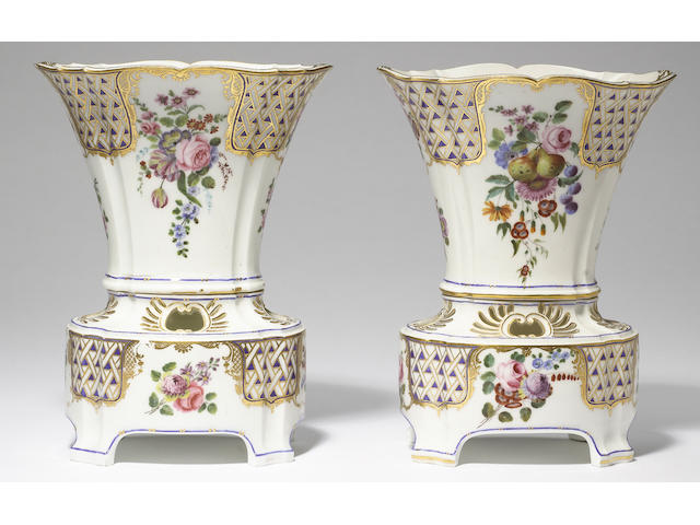 A pair of Sèvres flower vases circa 1760-61