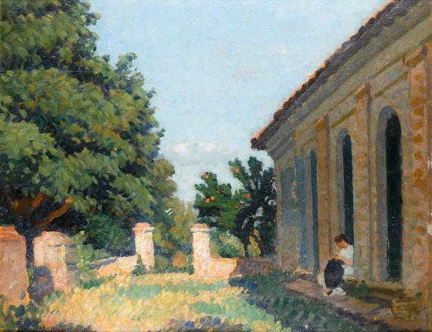 Henri Jean Guillaume Martin (French, 1860-1943) Femme à la terrasse