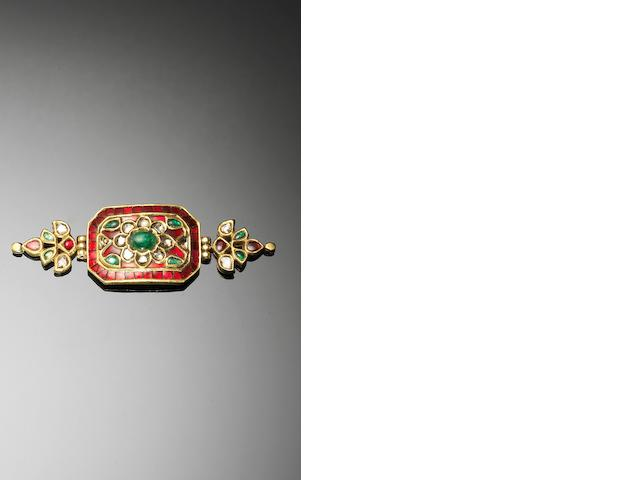 An Indian ruby, emerald and diamond-set Bazuband