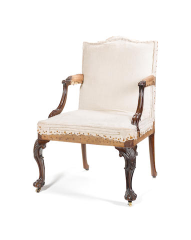 An early George III carved mahogany 'Gainsborough' type Open Armchair possibly by the Gillows associate John Romney, father of George Romney the painter
