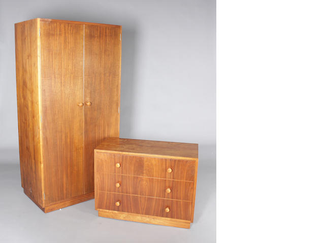A Gordon Russell 'Evenlode' figured walnut double wardrobe and matching chest, circa 1940