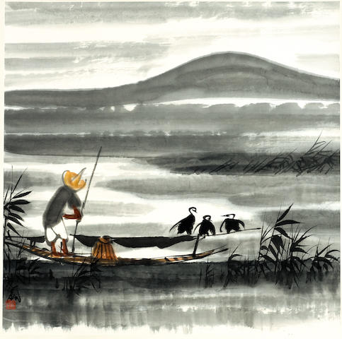 Lin Fengmian (1900-1991) Fisherman and Egrets, hanging scroll, length 97cm