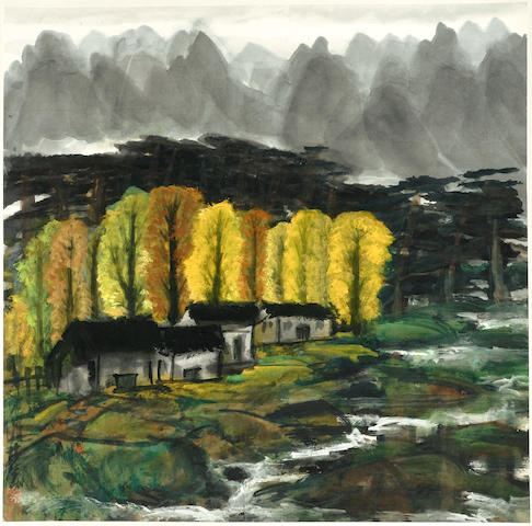 Lin Fengmian (1900-1991) Autumn Mountain, hanging scroll, length 95cm