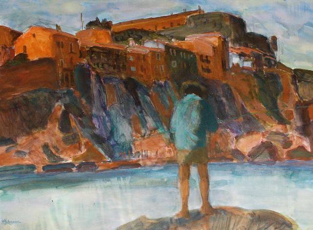 Hans Schwarz (British, 1922-2003) Fishing, Collioure