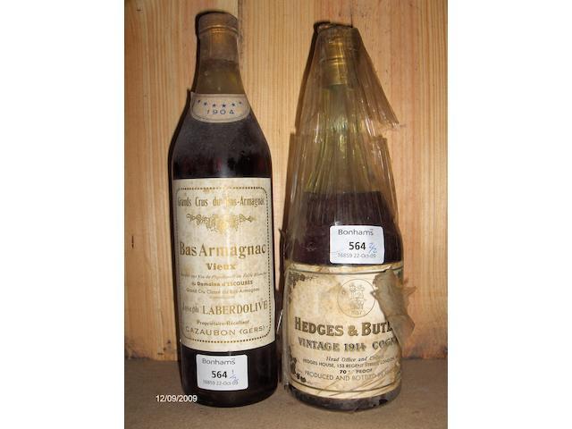 Domaine d'Escoubès Bas Armagnac 1904 (1)  Hedges & Butler Cognac 1914 (1)