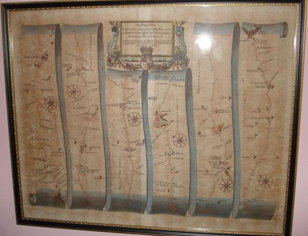The 'Road from Bristol to Banbury' map by John Ogilby, 37cm x47cm, together with five other maps.(6)