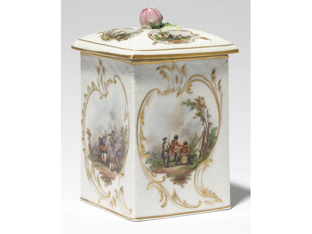 A rare Russian St Petersburg tobacco jar and cover circa 1758-62