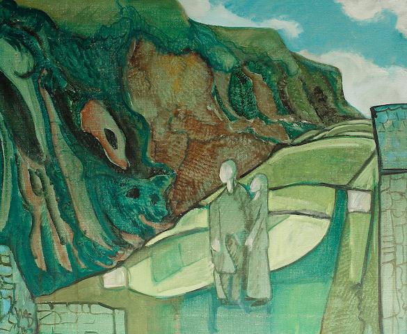 Willi Soukop (British, 1907-1995) Figures in a green landscape