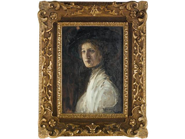 Sir John Lavery R.A., R.S.A., R.H.A. (1856-1941) Portrait of Mrs Baker 35.5 x 25.5 cm. (14 x 10 in.)