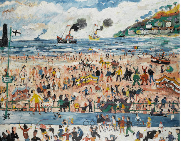 Simeon Stafford (British, born 1956) St. Ives - On the Beach 120 x 149.5 cm. (47 x 59 in.)