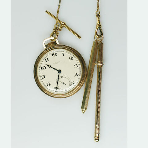 West & Son, Dublin: A 9ct gold slim open faced pocket watch