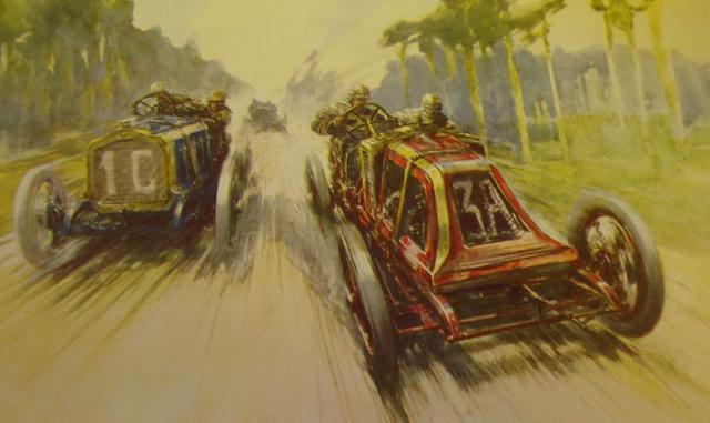 Two sets of Autocar 'The Endless Quest for Speed' prints,