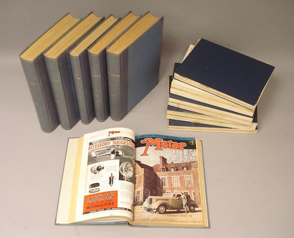 Eleven bound volumes of motoring periodicals,