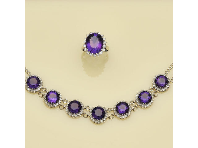 A matched suite of amethyst and diamond jewellery