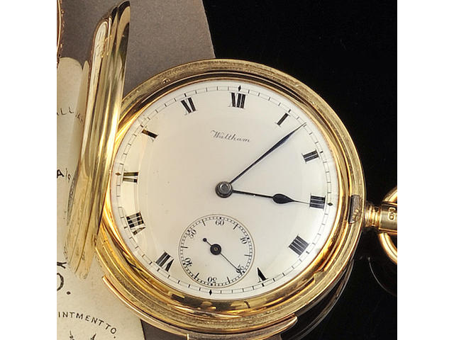 Waltham: An 18ct gold quarter repeater hunter pocket watch