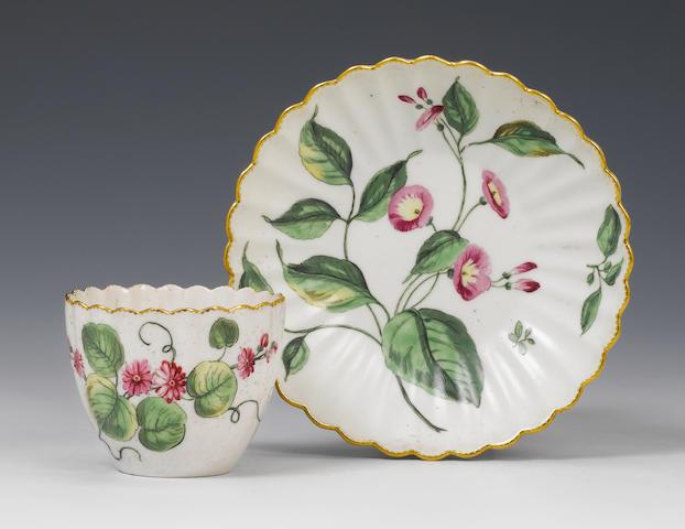 A Chelsea botanical teabowl and saucer The porcelain circa 1760