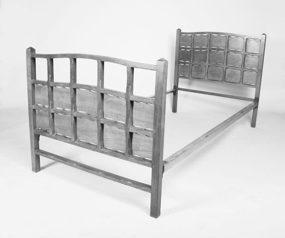 A good pair of chamfered oak frame single beds attributed to Edward Gardiner? for Ernest Gimson, circa 1930?