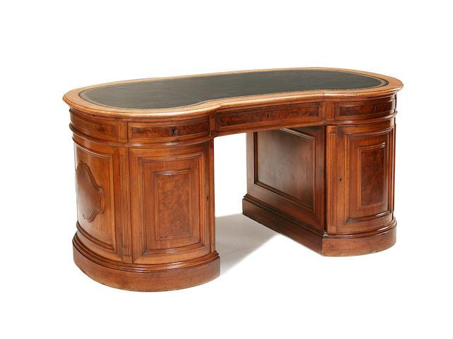 A good 19th century German walnut and burr walnut kidney shaped desk