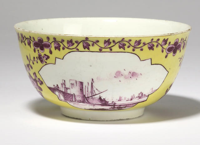 A yellow ground Meissen bowl
