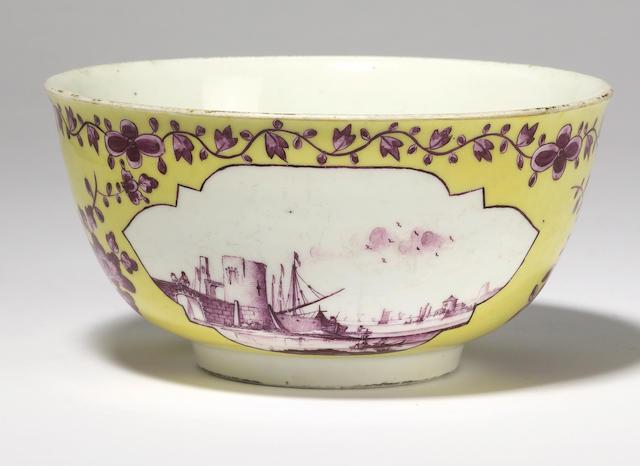 A yellow ground Meissen bowl