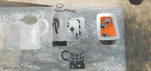 Mary Fedden R.A. (British, born 1915) Grey Still Life 30.5 x 61 cm. (12 x 24 in.)