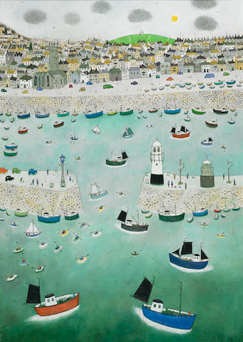 Joan Gillchrest (British, 1918-2008) St. Ives Harbour 101.5 x 71 cm. (40 x 28 in.)