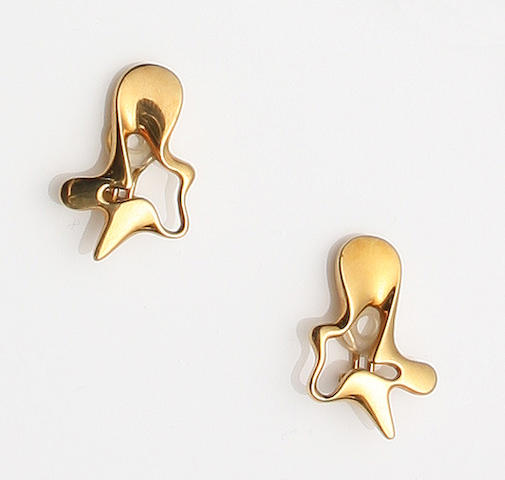A pair of Georg Jensen 18 carat gold earrings to a design by Henning Koppel Numbered 1118, with stamped marks and hallmarks for London, 1956,