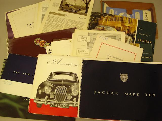 A selection of Jaguar sales literature,