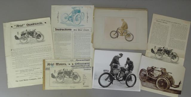 A sales booklet and ephemera relating to early Ariel Patent Motor Tricycles and Quadricycles, 1898-1900,