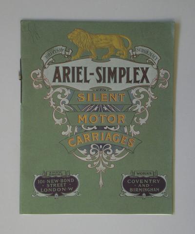 A 1908 Ariel-Simplex Silent Motor Carriages sales brochure,