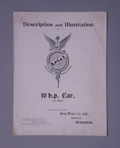 A 1902 sales pamphlet for the Ariel 10hp Car,