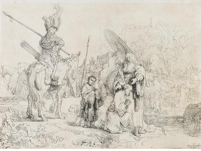 Rembrandt Harmensz van Rijn (Dutch, 1606-1669) Baptism of the Eunuch Etching, 1641, a late impression of the second state, on laid, 160 x 213mm (6 1/3 x 8 1/2in)(SH)  unframed