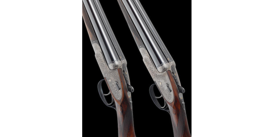 A composed pair of 12-bore 'Royal Brevis' self-opening sidelock ejector guns by Holland & Holland, no. 33492/295 In a Holland & Holland leather case