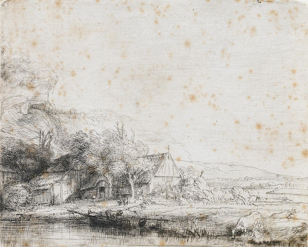 Rembrandt Harmensz van Rijn (Dutch, 1606-1669) Landscape with a cow Etching, 1650, second state, with the horizontal shading to the right of the cow and traces of burr along the riverbank and around the boat, on laid, 105 x 130mm (4 1/4 x 5 1/4in)(PL)