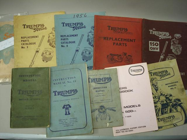 A lot of Triumph motorcycle literature,