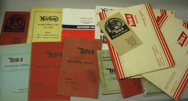 A lot of BSA and Norton motorcycle literature,