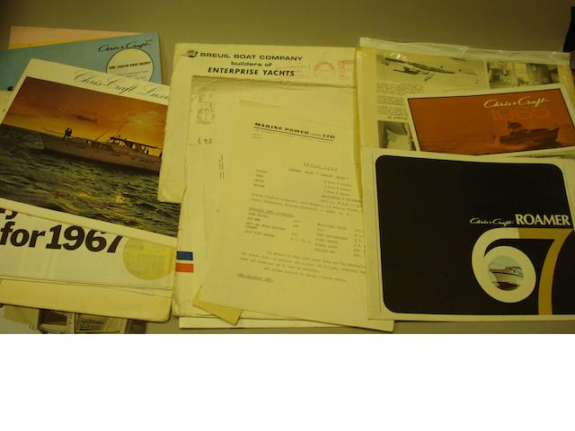 A quantity of sales brochures and ephemera for powerboats,