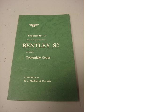 A rare supplement to the handbook for the Bentley S2,