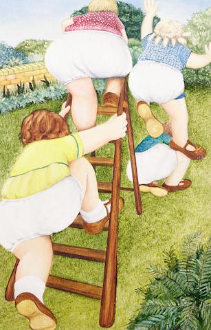 Beryl Cook (British, 1926-2008) Garden games