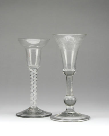 An engraved balustroid wine glass Circa 1740