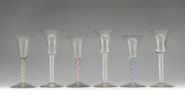 A collection of air twist wine glasses  Mid 19th Century