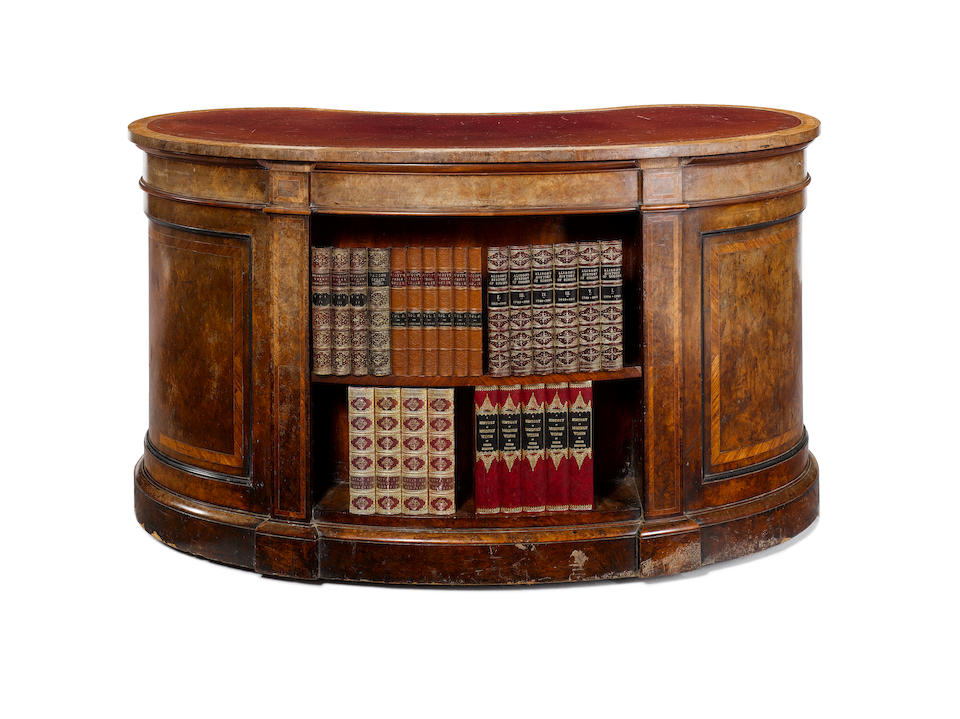 A Victorian burr walnut and kingwood banded kidney shaped Writing Desk by John Barrow for Gillows