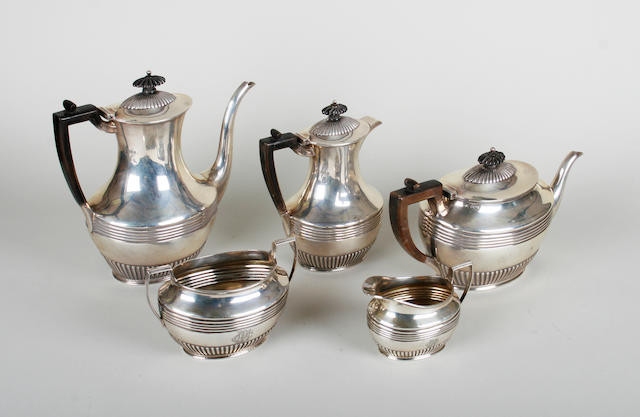 A late Victorian silver five piece tea and coffee set, by Henry Stratford, Sheffield 1896  (5)