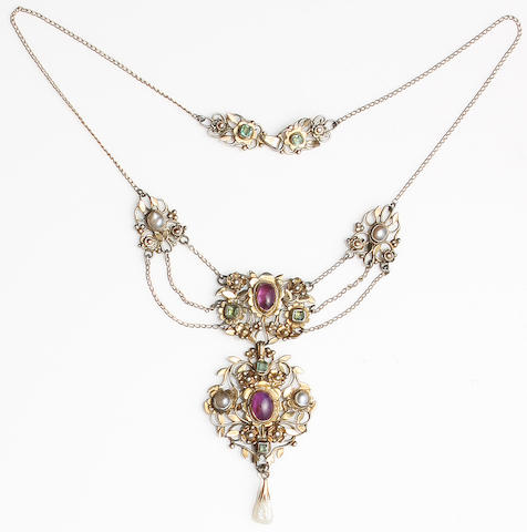 An Arts and Crafts silver gilt and gem-set necklace by Arthur & Georgie Gaskin Unmarked,