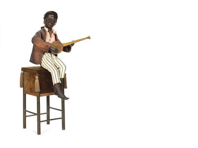 A good negro banjo-player musical automaton, by Vichy, circa 1900, Vichy catalogue No. 599,