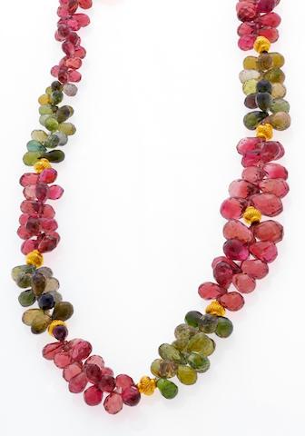 A multi-color tourmaline necklace