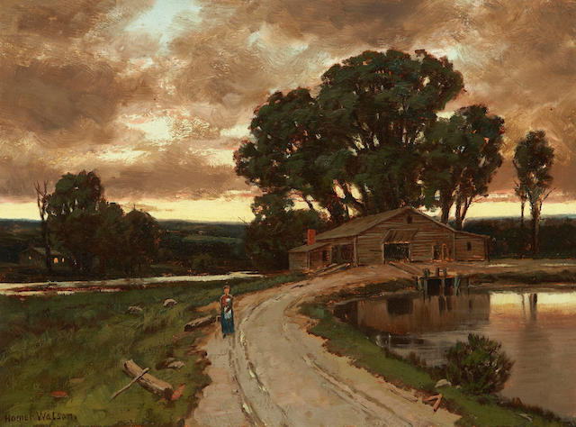 Homer Ransford Watson PRCA,OSA (Canadian, 1855-1936) Figure on the road and farmhouse at sunset